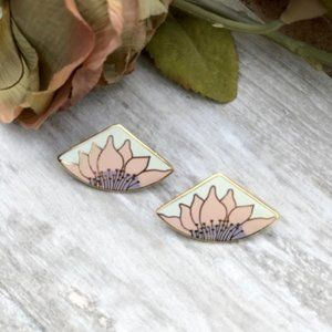 Vintage 1980s Laurel Burch Floral Fan Earrings